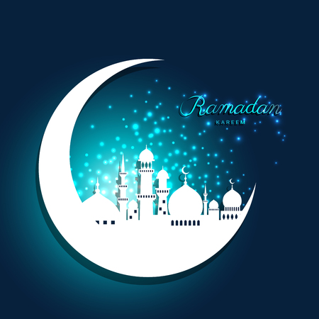 Mosque in moon with abstract light for ramadan of Islam