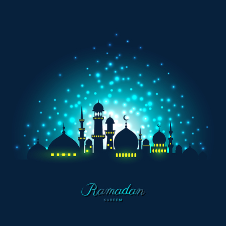 Mosque silhouette in night sky and abstract light for ramadan of Islam Иллюстрация