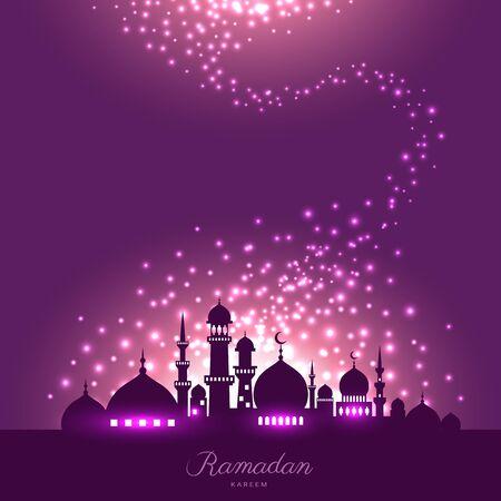 夜空と抽象的な魔法のイスラム教のラマダンの光でモスクのシルエット  イラスト・ベクター素材