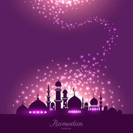Mosque silhouette in night sky and abstract magic light for ramadan of Islam