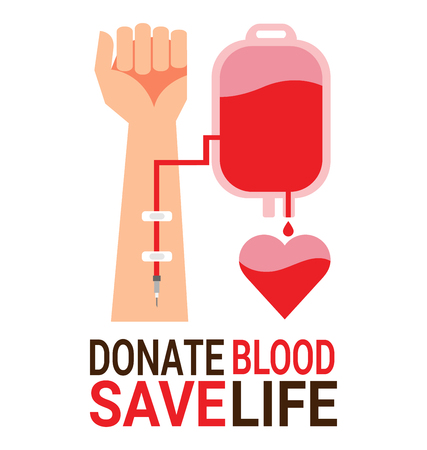 Bag blood with hand of donor for World Blood Donor Day poster Фото со стока - 77597382