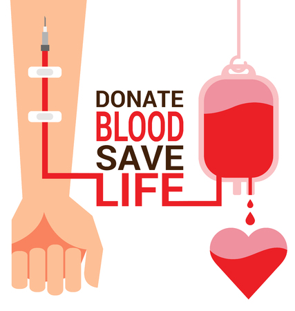 Bag blood with hand of donor for World Blood Donor Day Фото со стока - 77597399