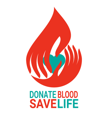 Blood drop in Hand design with heart for World Blood Donor Day Фото со стока - 77597381