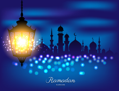 Beautiful bright lamp with Mosque silhouette for ramadan of Islam Фото со стока - 77597387