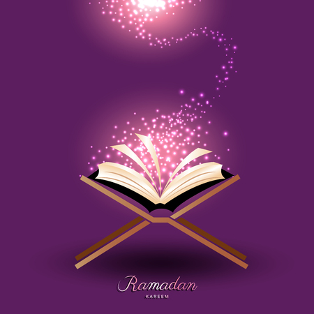 Muslim Quran with abstract magic light for ramadan of Islam Фото со стока - 77597388