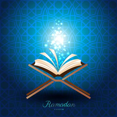 Muslim Quran with magic light on blue background for ramadan of Islam