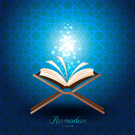 Muslim Quran with magic light on blue background for ramadan of Islam Illustration