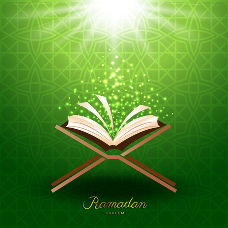 Muslim Quran with magic light on green background for ramadan of Islam
