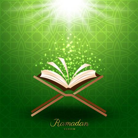 Muslim Quran with magic light on green background for ramadan of Islam Фото со стока - 77597389