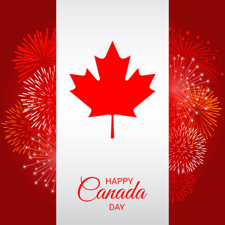 Canada flag with fireworks for celebrate the national day of Canada Ilustração