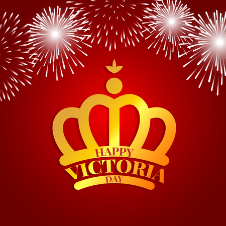 Golden crown with fireworks for celebrate the Victoria day Иллюстрация