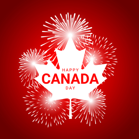 Maple Leaf  with fireworks for celebrate the national day of Canada