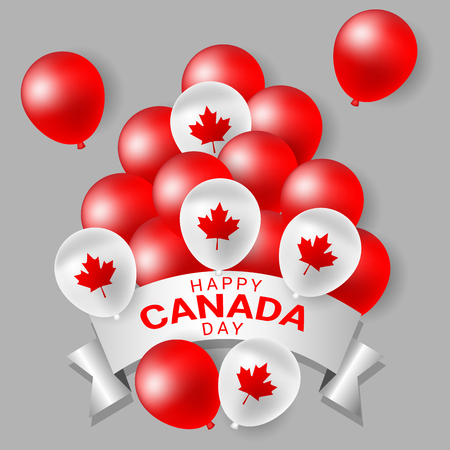 Red and white party balloons for celebrate the national day of Canada Фото со стока - 77597325