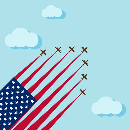 Air show on the skye for celebrate the national day of USA celebration