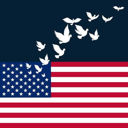 American Flag with  flying pigeon  for Independence Day of USA celebration