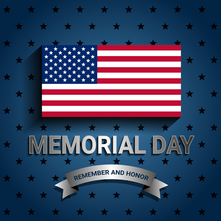 American Flag with ribbon for Memorial day poster