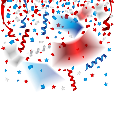 Beautiful confetti and party ribbons for independence day of USA celebration Иллюстрация