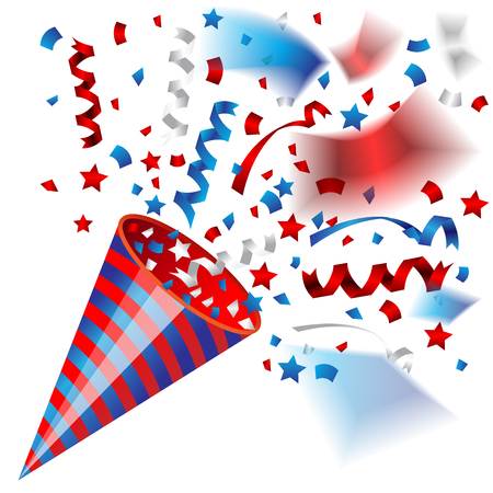 Colorful party popper for independence of USA celebration