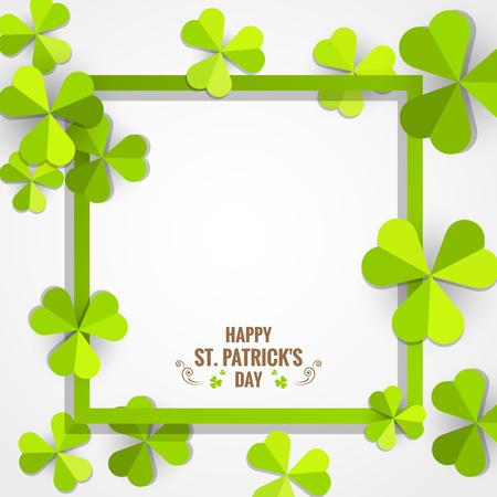 聖パトリックの日カードのための緑のシャムロック紙フレーム。