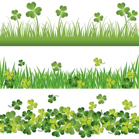 セント・パトリックのデイカードに設定された緑のシャムロックと草の境界線。  イラスト・ベクター素材