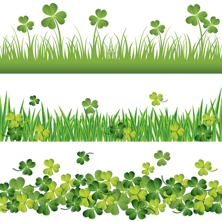 Green shamrock and grass borders set for St. Patricks day card.