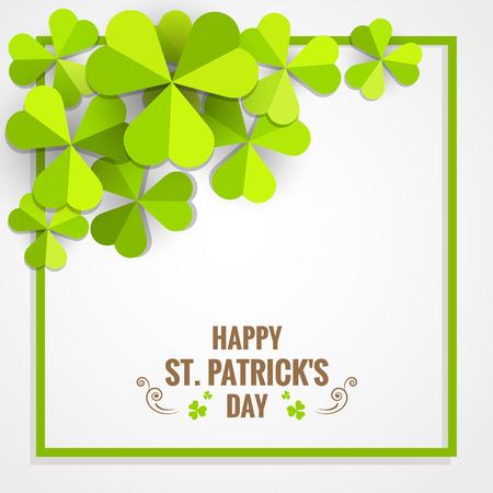 Green shamrock frame paper for St. Patricks day card. Иллюстрация