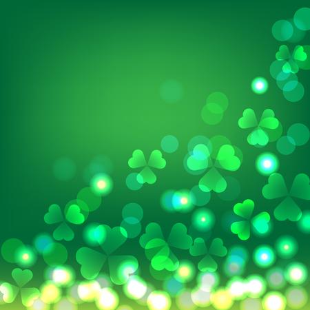 Green shamrock bokeh background for St Patricks day celebration.