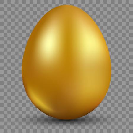 Golden egg isolated on translucent background for Easter day celebration