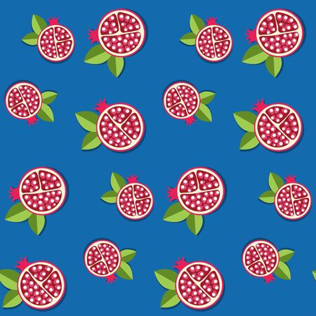 Seamless pomegranate pattern for fruit background Иллюстрация