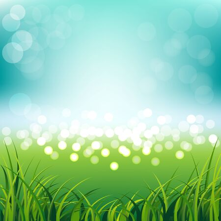 Beautiful blue sky with fresh spring grass background
