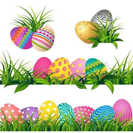 Colorful eggs and Spring green grass Borders Set for Easter day greeting card Фото со стока - 97071862