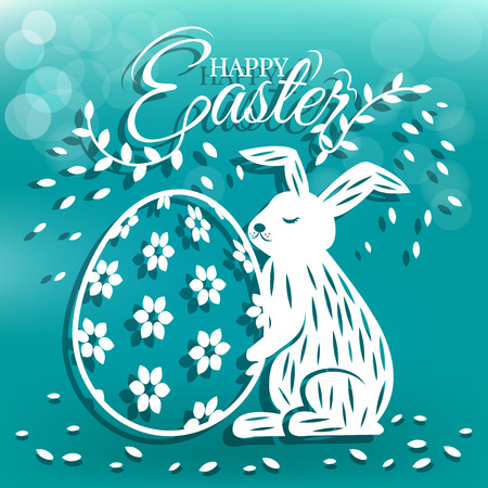 Cute bunny and beautiful egg for Easter day greeting card Фото со стока - 97073172