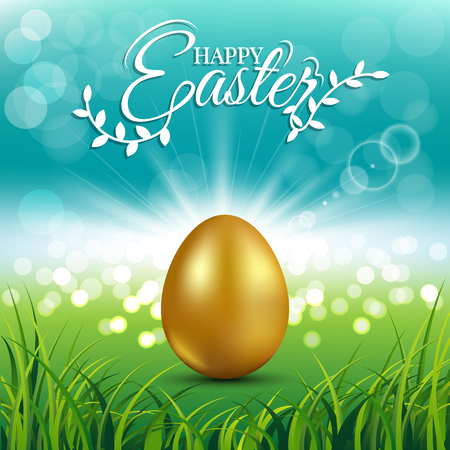 Gold egg on fresh spring grass with text for Easter day greeting card Иллюстрация