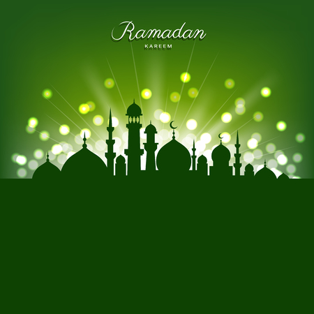 Mosque silhouette and abstract light on green background for Ramadhan month
