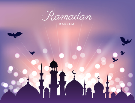 Mosque silhouette in sunset sky and abstract light for ramadan of Islam Illustration