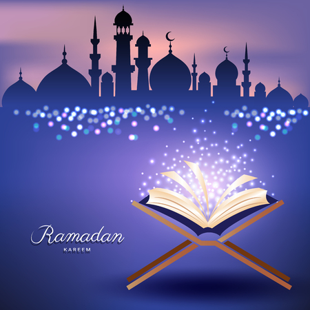 Muslim Quran with Mosque in sunset sky and abstract candles light for Ramadhan month
