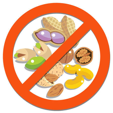 Prohibition sign with beans beans and peanuts for food concept Illustration