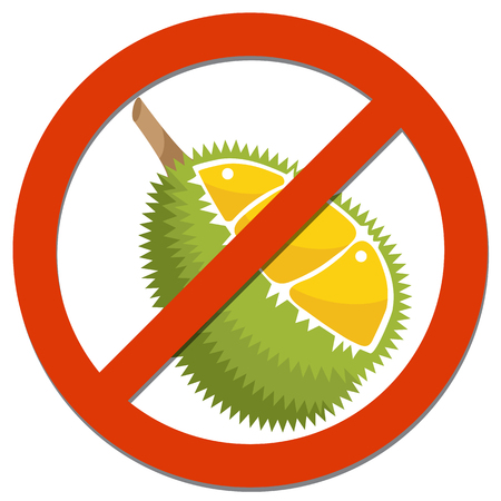 Prohibition sign with Durian for food concept Иллюстрация