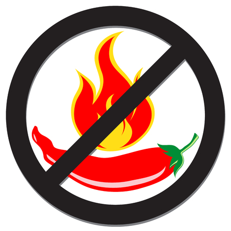 Prohibition sign with spicy pepper for food concept