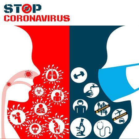 Icon of Covid 19 virus Coronavirus and respiratory pathogens