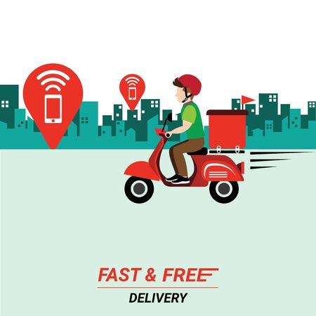 Delivery man with scooter on city background