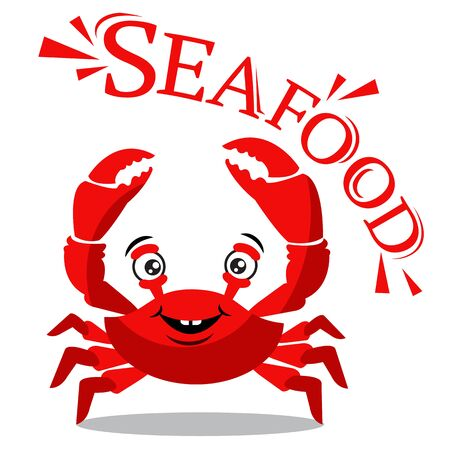 Funny red crab cartoon with text for seafood concept Иллюстрация
