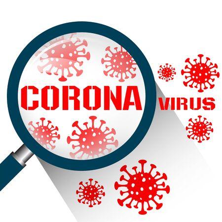 Magnifying glass with Coronavirus Covid19