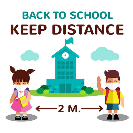Cartoon of two student girl and boy and Back to school keep distance text