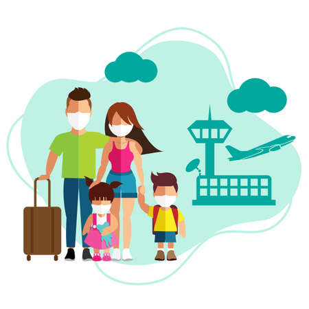 Family tourism with surgical mask face protection at airport terminal Иллюстрация