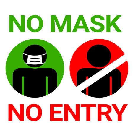 No mask no entry sign for Covid19 Corona  Virus protection concept Иллюстрация