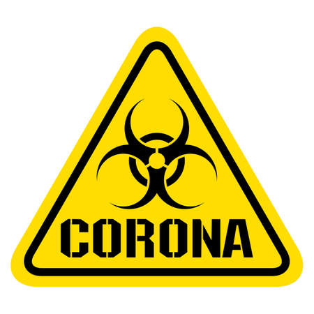 Warning sign for Covid19 Corona  Virus protection concept Иллюстрация