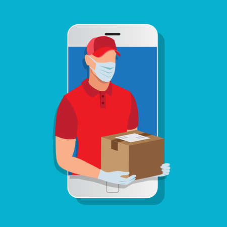 Delivery man wearing a face mask and gloves holding a box post in mobile phone Иллюстрация