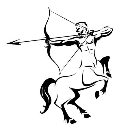 Centaur silhouette ancient mythology for tattoo