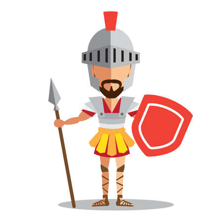 Knight wearing armor holding a shield and a sword on white background Иллюстрация